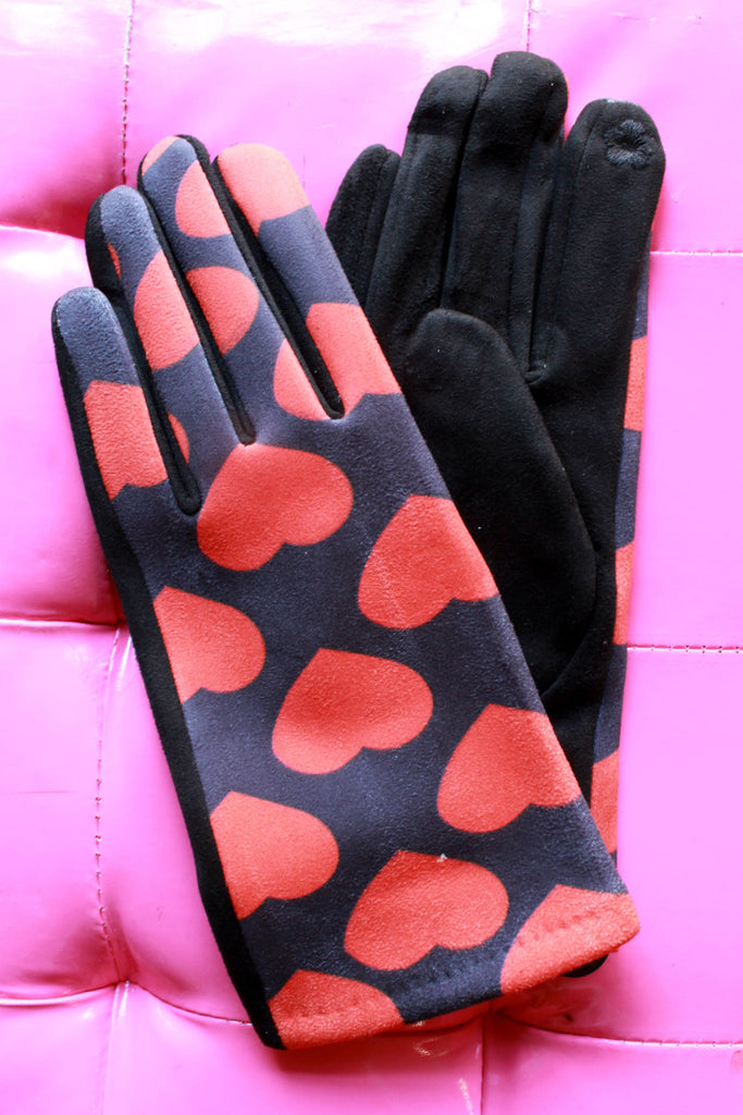 Ladies Red Hearts Sueded Gloves