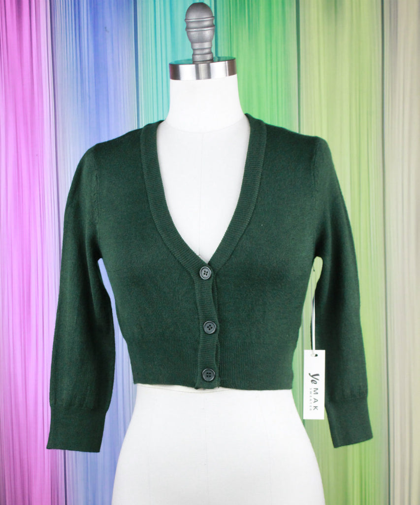 Hunter Green Cropped Cardigan