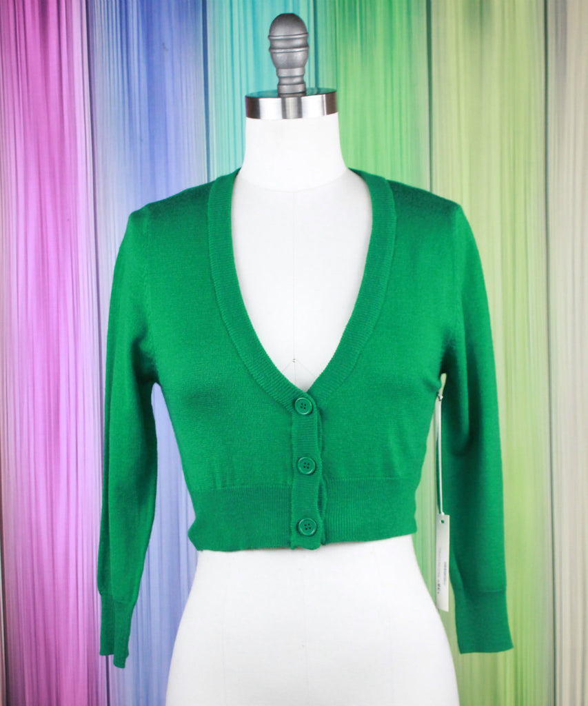 Kelly Green Cropped Cardigan