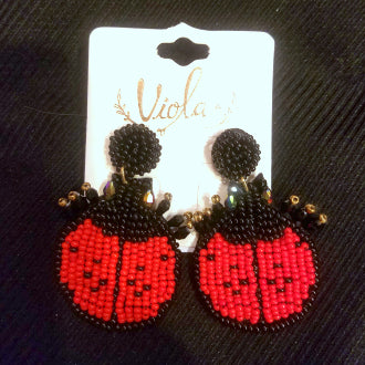 Lady Bug Beaded Earring