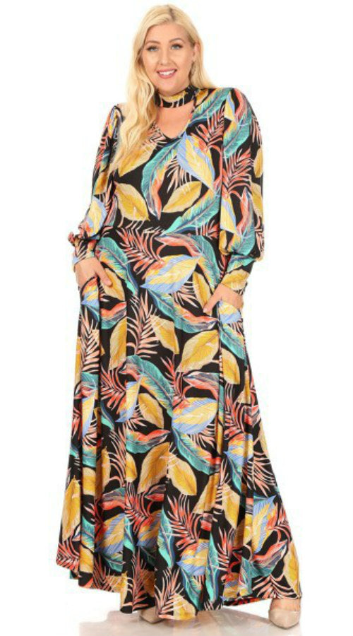 Tropical Leaves Maxi Dress