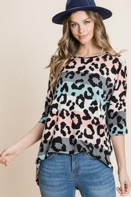 Rainbow Cat 3/4 Sleeve Top