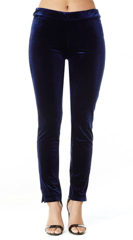 Stretch Velvet Slim Cut Pants: Black