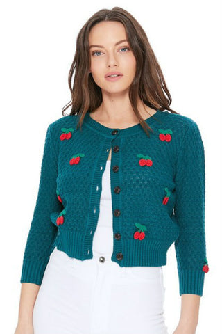 Peacock Cropped Cardigan