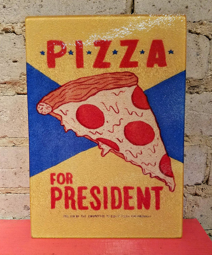 Pizza For President Glass Cutting Board
