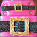 Bamboo Buckle w/ Black Elasticized Rattan Belt