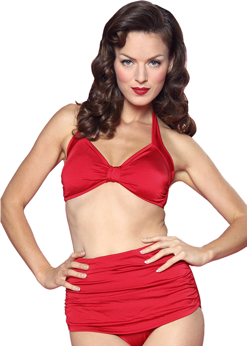 Vintage Style 2 Piece Swimsuit: Red