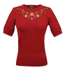 Swiss Miss Embroidered Sweater: Red