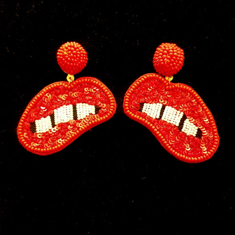 Beaded Tiger Earrings