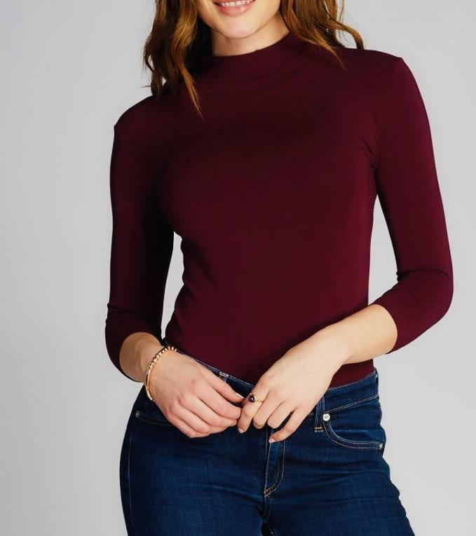 Bamboo Mock Neck Top: Bordeaux: One Size