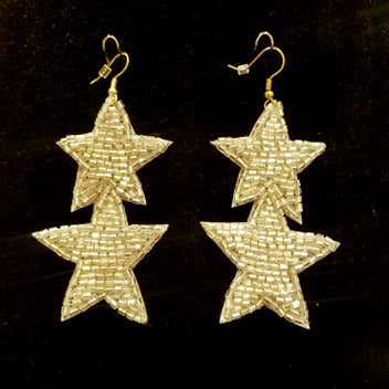 Beaded Silver Shooting Star Earrings