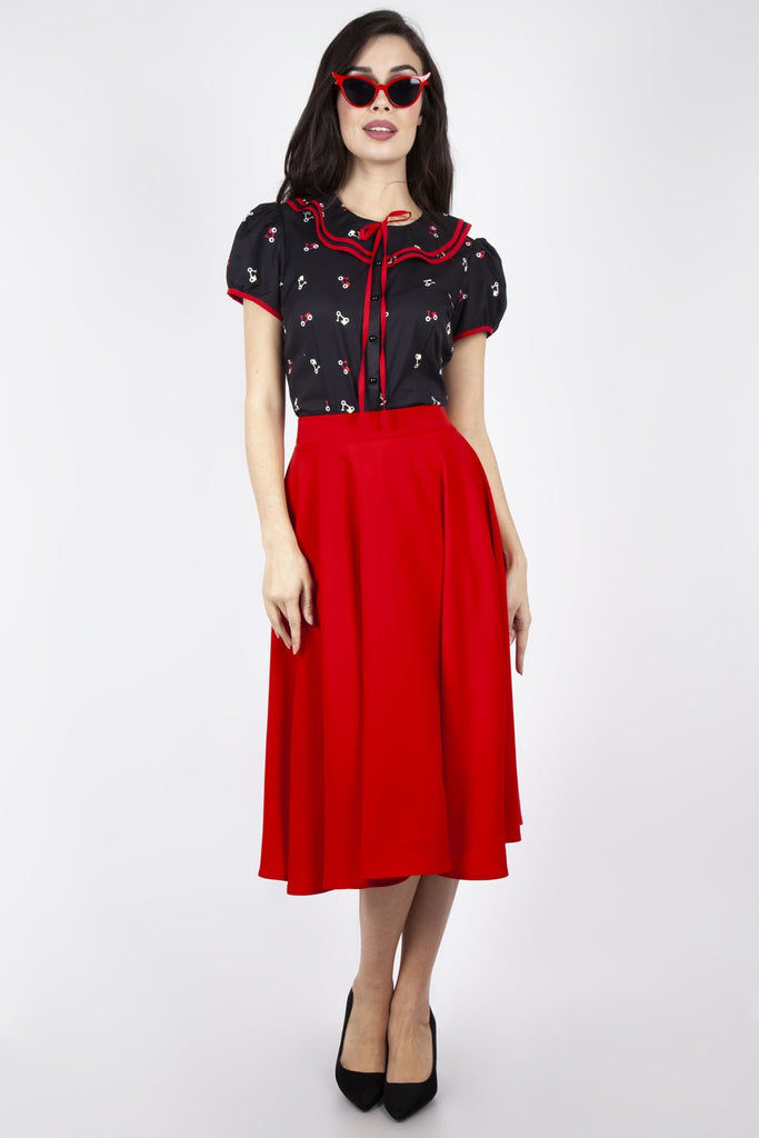 Rosy Red Swing Skirt