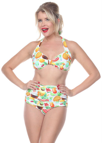 Vintage Style 1 Piece Swimsuit: Tropical Pineapple
