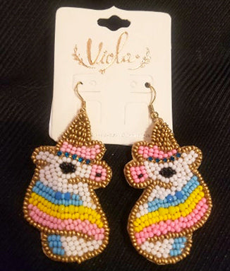 Beaded & Rhinestone Bee Earrings