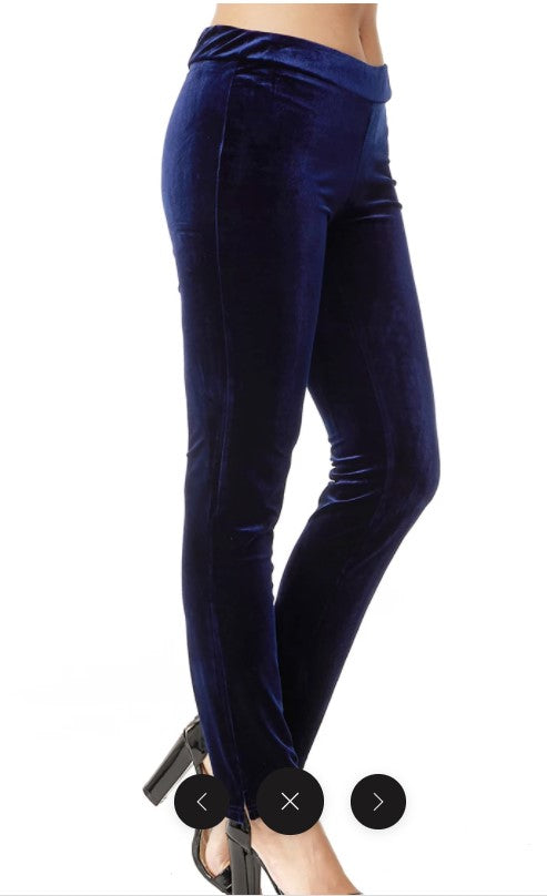 Stretch Velvet Slim Cut Pants: Navy