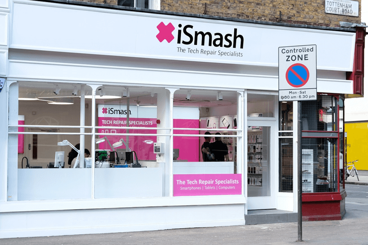 street view of our ismash phone repair shop in Tottenham Court Road