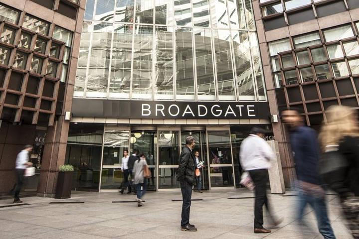 Broadgate Circle building where our Broadgate iSmash phone repair and screen replacement store is located