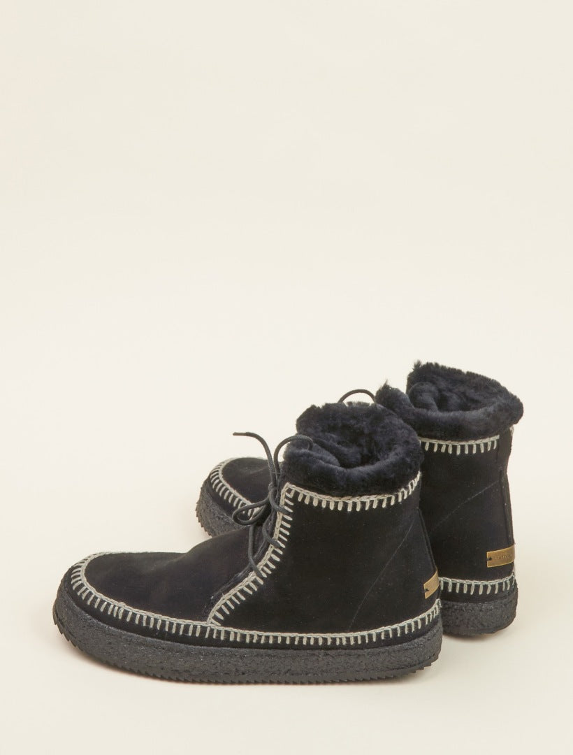 Argo Crochet Lace up Ankle Boot Black Suede