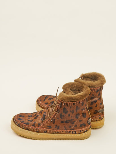 Argo Crochet Lace up Ankle Boot Leopard Brown