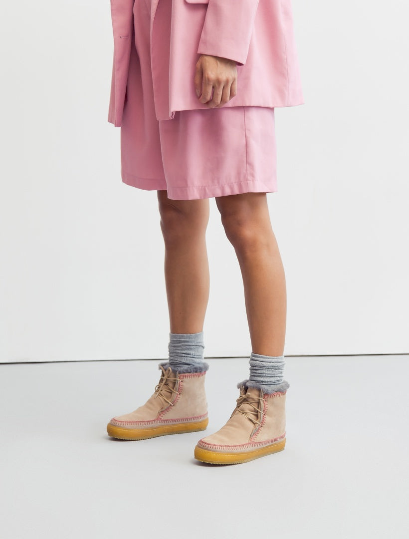 Argo Crochet Lace up Ankle Boot Sand Suede