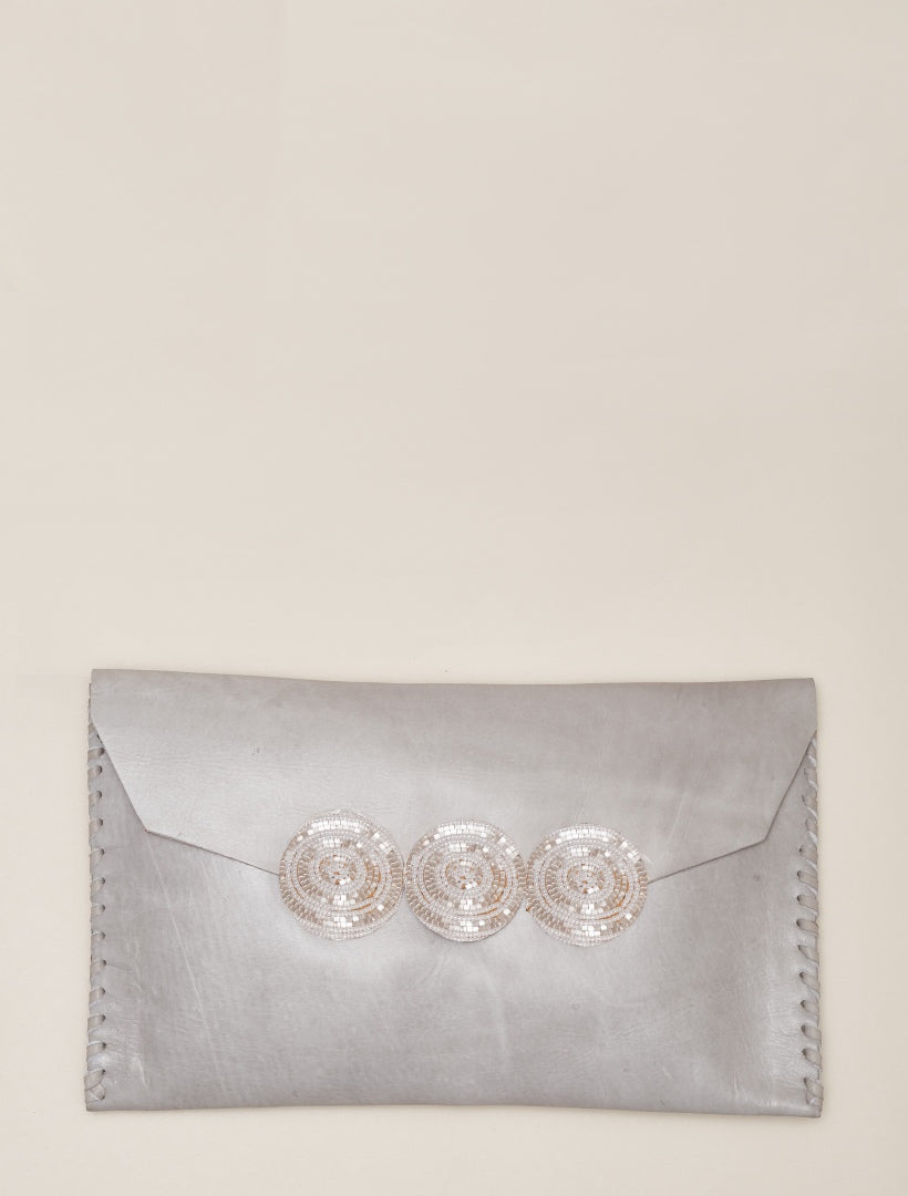 Cole Tan Leather Clutch Bag Snow White