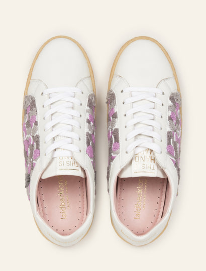 Crewe Sneaker White Leather Purple