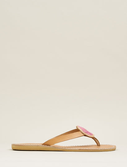 Doli Flat Leather Sandal Gold Red