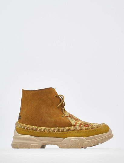 Emre 2.0 Beaded Lace Up Ankle Boot Mustard Suede