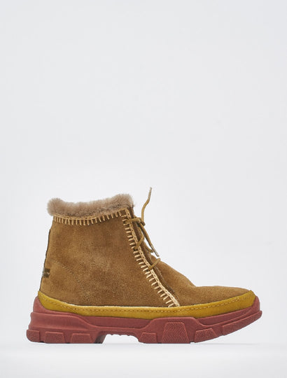 Emre 2.0 Crochet Lace Up Ankle Boot Camel Suede