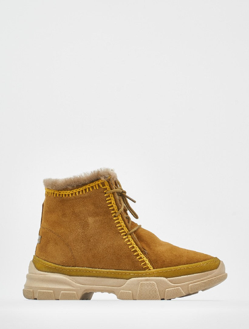 Emre 2.0 Crochet Lace Up Ankle Boot Mustard Suede