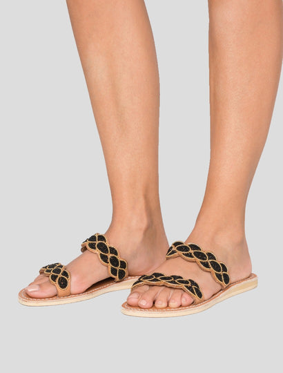 Eros Flat Slide Leather Sandal Black Gold