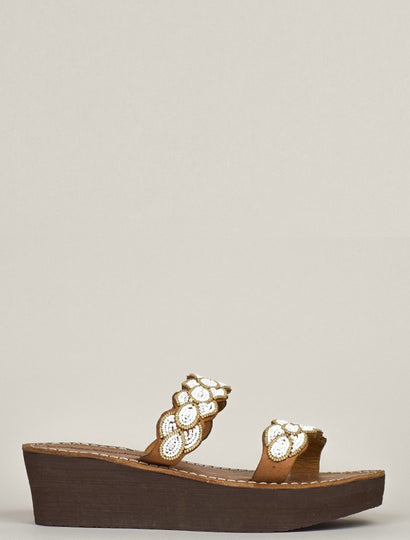 Eros Wedge Mid Brown Metal Gold/White
