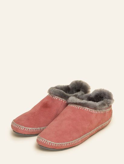 Fuyu Crochet Sheepskin Slipper Boots Dusty Pink Suede