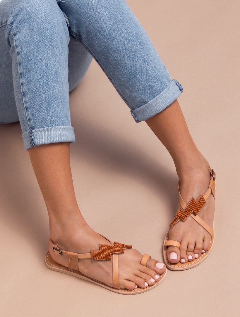 Icini Flat Back Strap Leather Sandal Rust