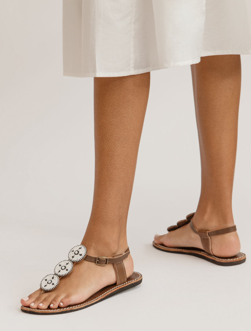 Isko Flat Leather Sandal White Maasai