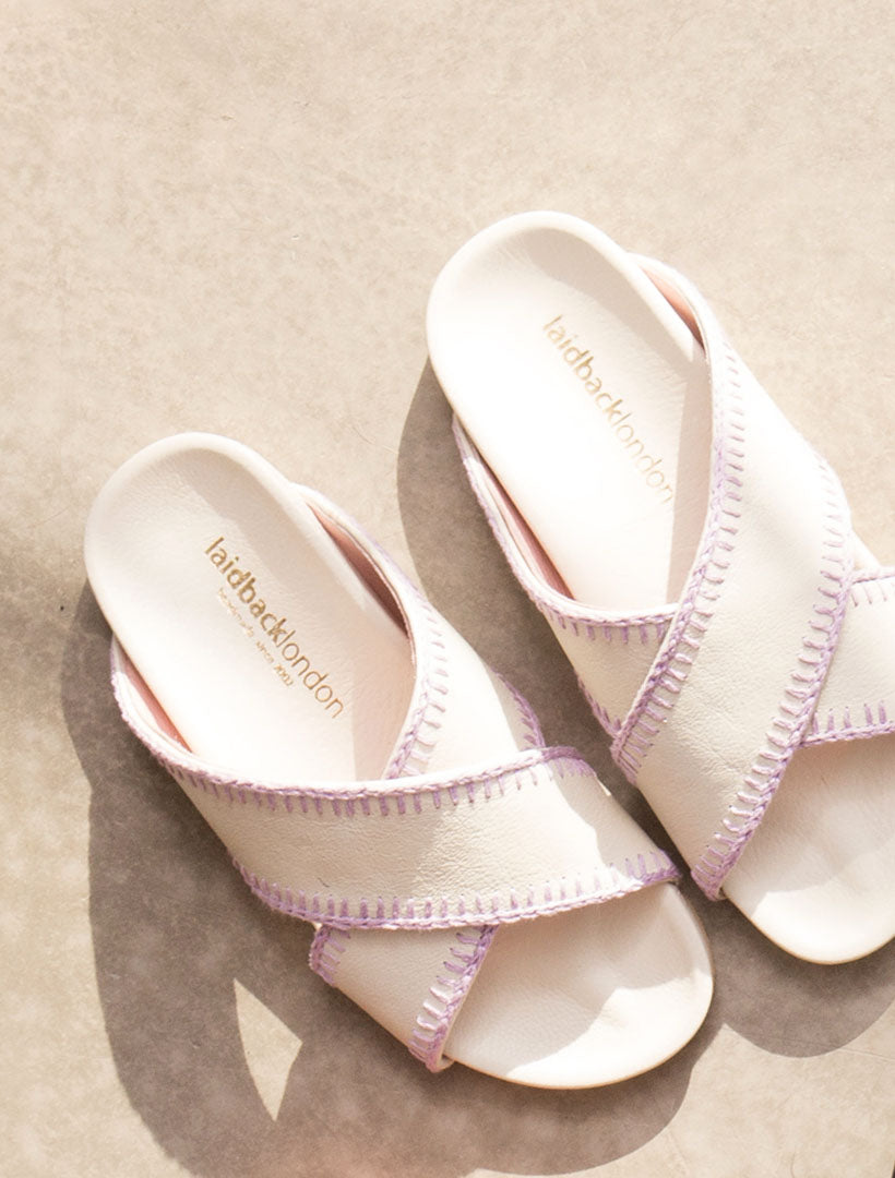 Jadine Footbed Sandals Off-white Leather Lilac