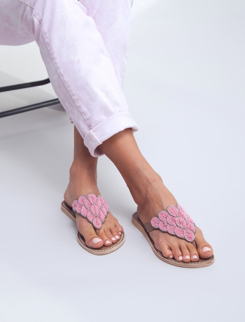 Laith Flat Tan Leather Sandal Baby Pink