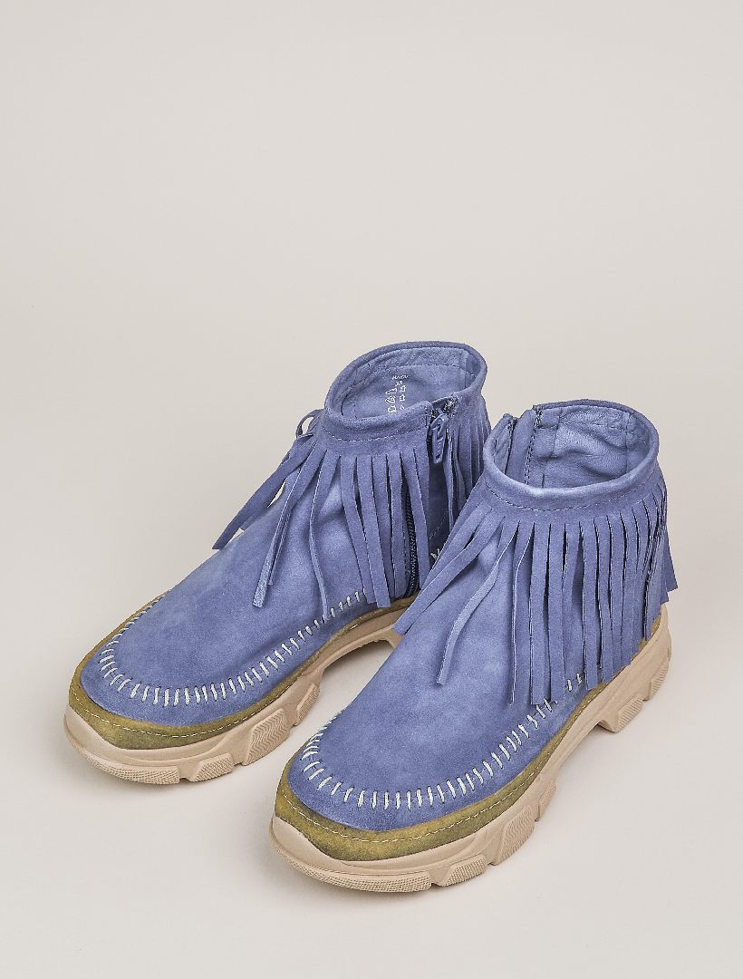 Maidu 2.0 Fringe Ankle Boot Blue Suede