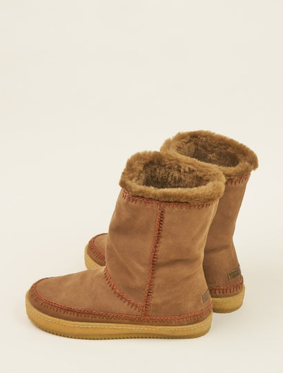 Naira Crochet Calf Pull On Boot Camel Suede