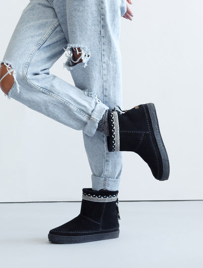 Nyali Classic Pull On Ankle Boot Black Suede Pewter