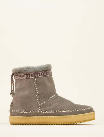 Nyali Classic Pull On Ankle Boot Grey Suede Silky Pink