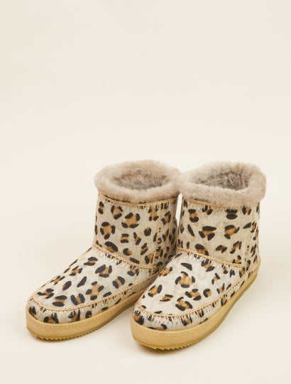 Nyali Crochet Pull On Ankle Boot Leopard Beige
