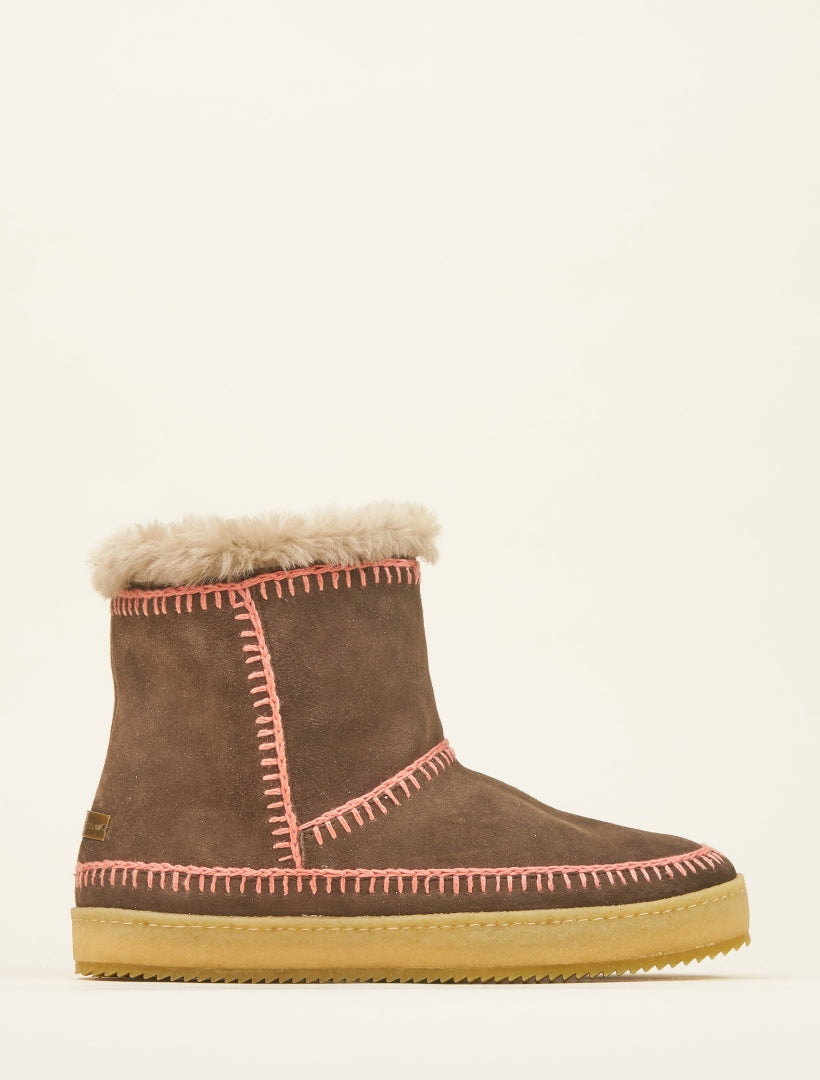 Nyali Crochet Pull On Ankle Boot Choc Suede