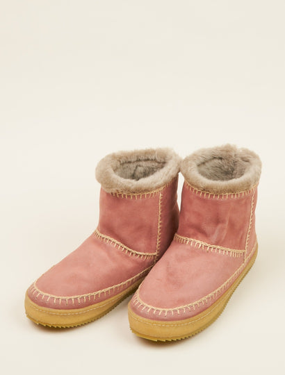 Nyali Crochet Pull On Ankle Boot Dusty Pink Suede Beige