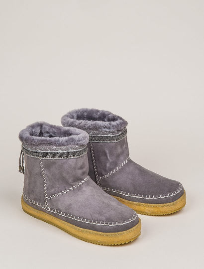 Nyali Classic Pull On Ankle Boot Grey Suede