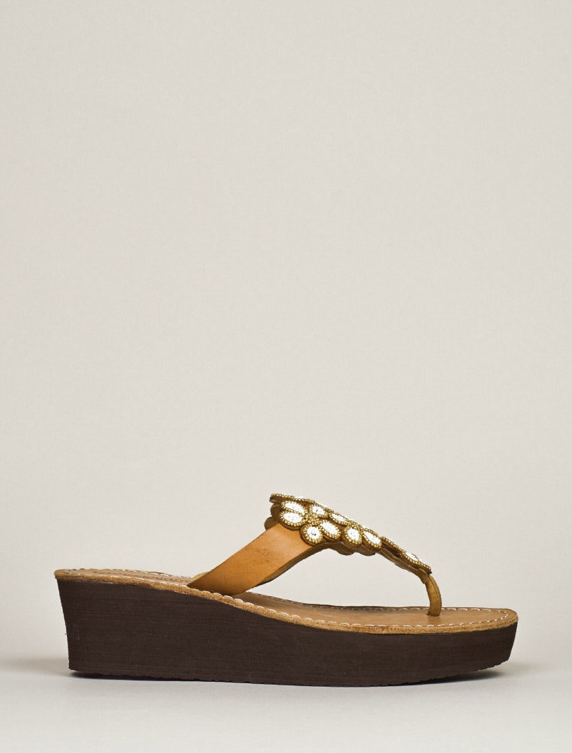 Cooper Wedge Light Brown Metal Gold/White