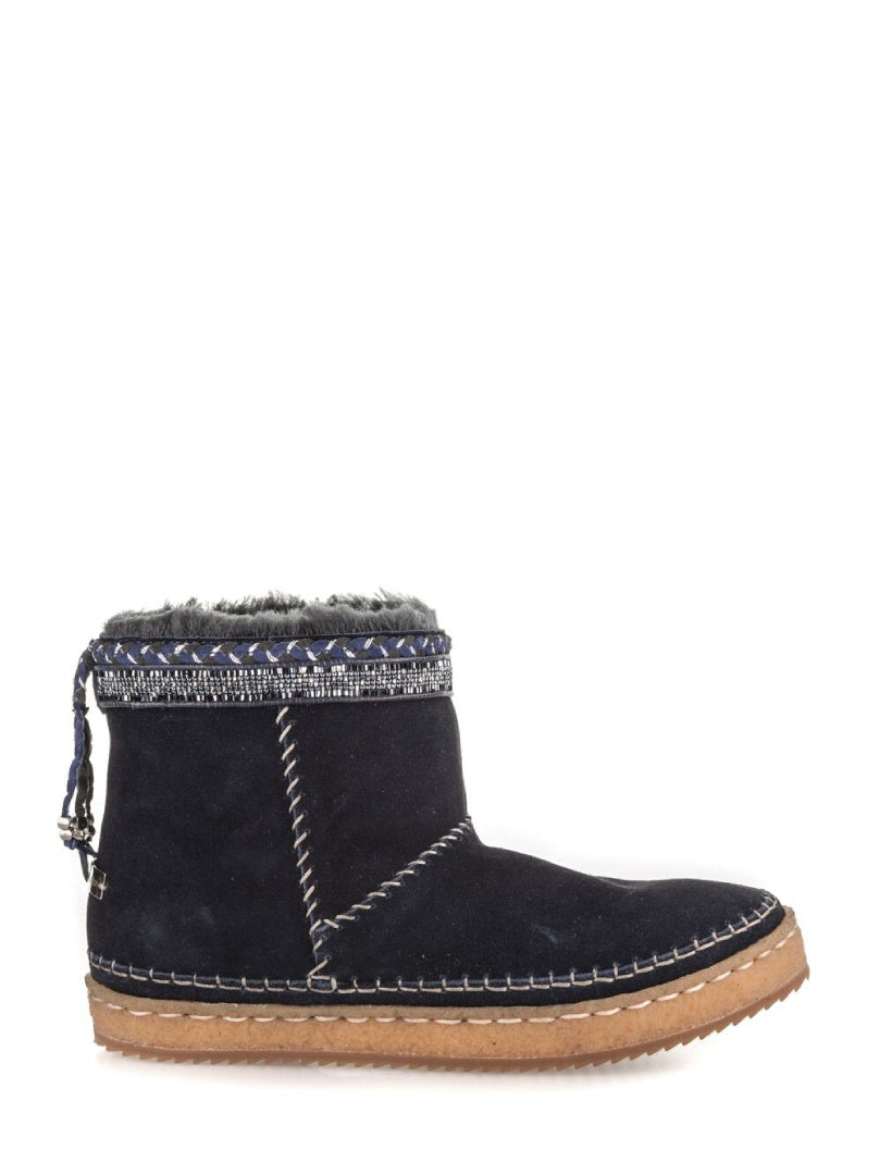 Nyali Classic Pull On Ankle Boot Navy Suede