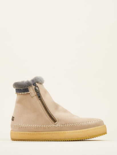 Setsu Classic Side Zip Ankle Boot Sand Suede