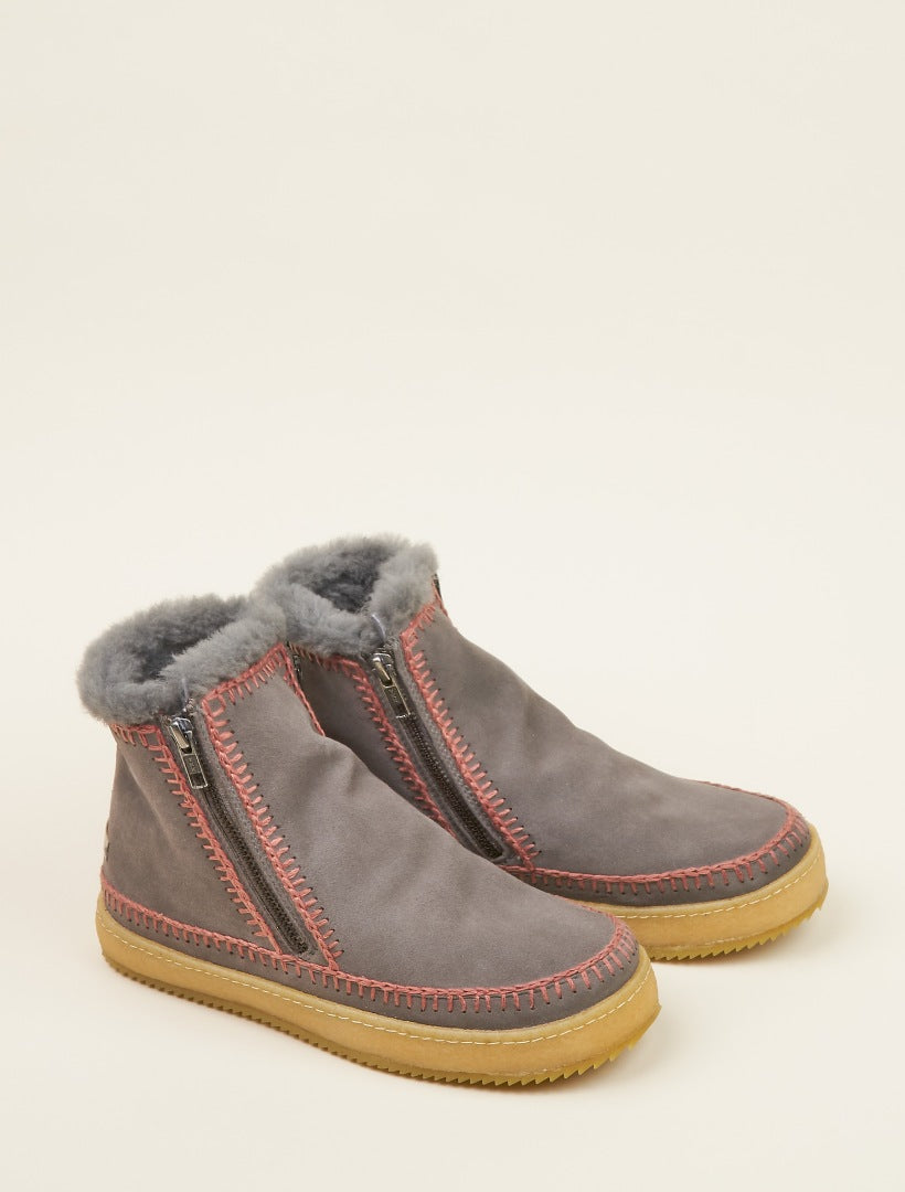 Setsu Crochet Side Zip Ankle Boot Grey Suede Coral