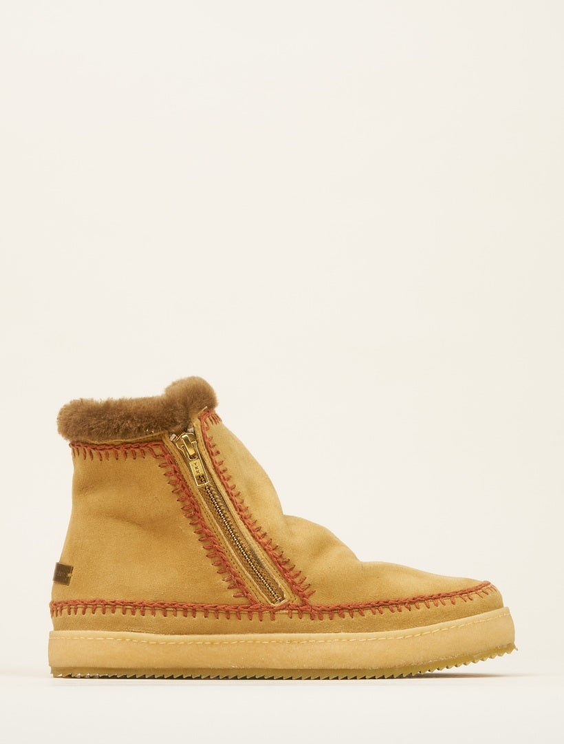 Setsu Crochet Side Zip Ankle Boot Saffron Suede